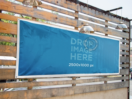 horizontal banner mockup nailed to a wooden wall on behance