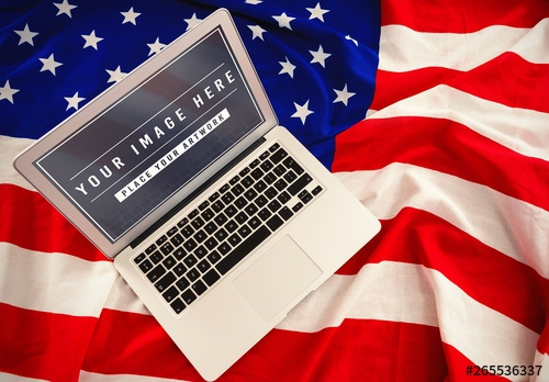 laptop on american flag mockup buy this stock template and