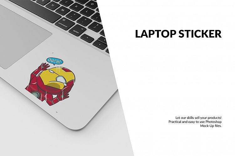 laptop sticker mockup set