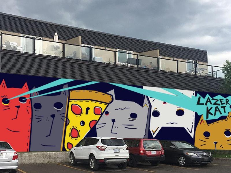 lazer kat mural mockup katbing on dribbble