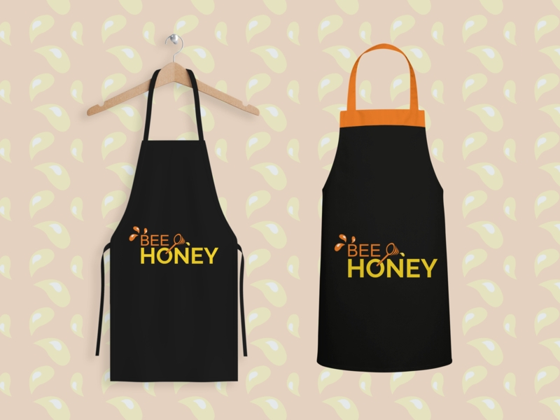 logo bee honey apron mockup youssouf grafico on dribbble