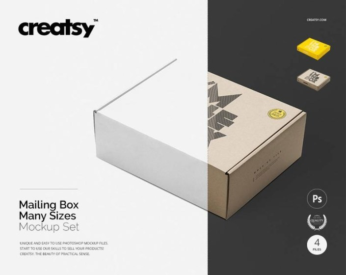 mailing box mockup set