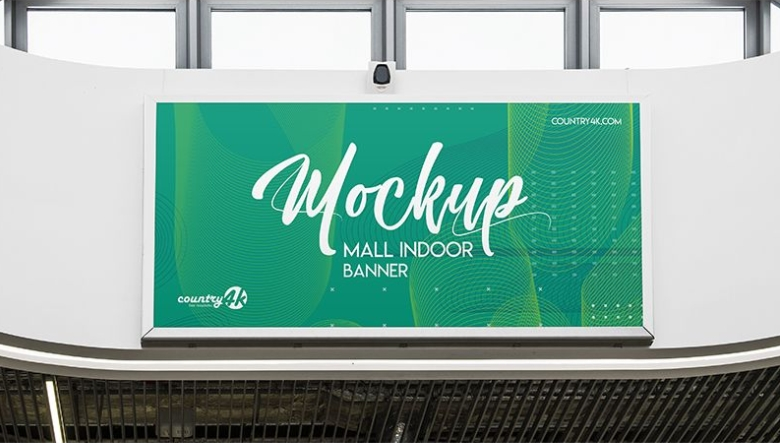 mall indoor banner psd mockup for outstanding banner