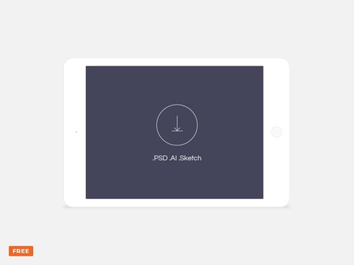 minimal light landscape tablet mockup freebie download sketch