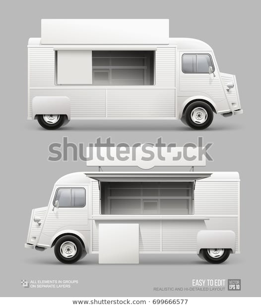 mockup set retro food truck isolated stock vector royalty free