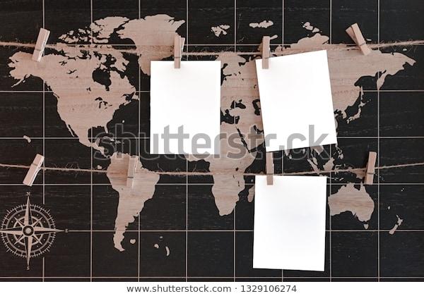 mockup world map three white blank stock photo edit now 1329106274