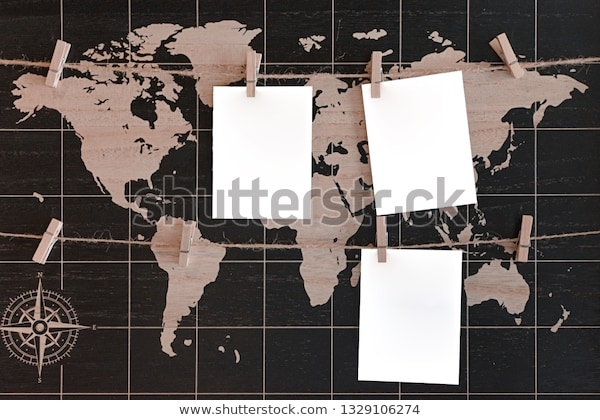 mockup world map three white blank stock photo edit now 1329106274