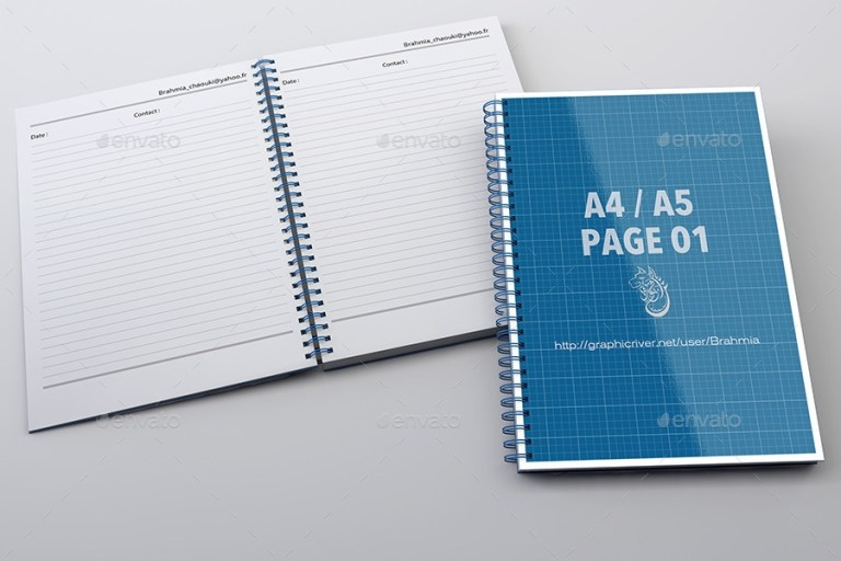 notebook mock up for a4a5