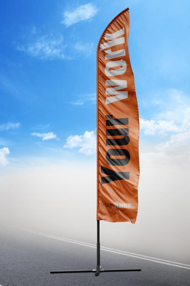 orange flag mock up psd file free download