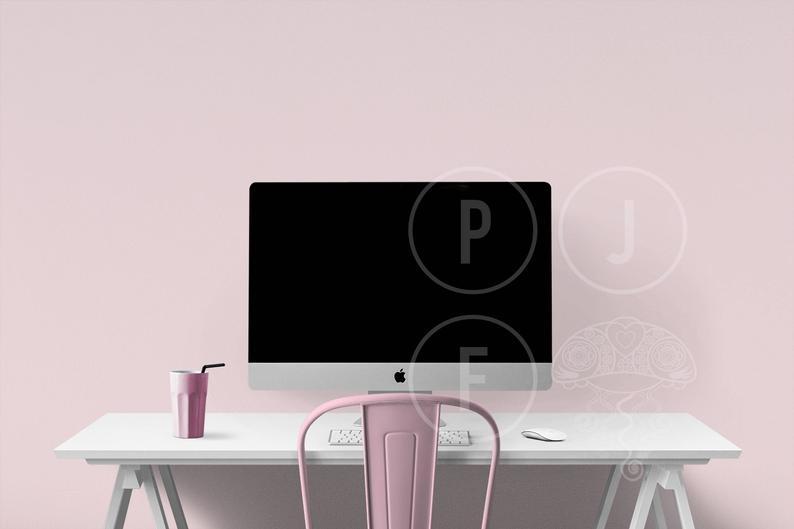 pink room mockup imac mockup styled desk desk mockup computer mockup pink chair