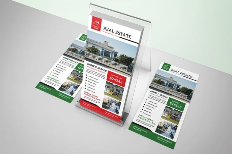 real estate rack card template 4x9 in photoshop template instant download