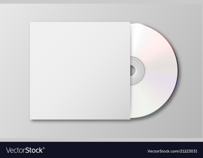 realistic 3d white cd with cover icon