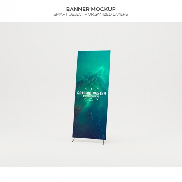 realistic banner mock up psd file free download