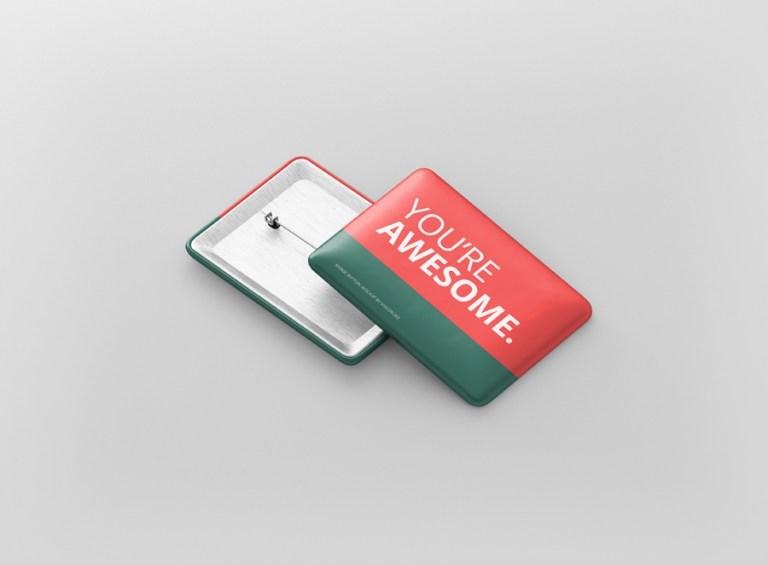 rectangle badge button mockup