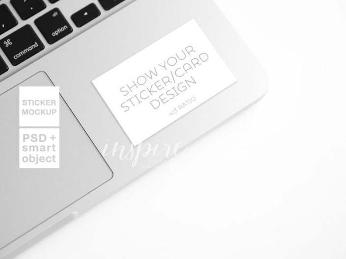 rectangle sticker mockup laptop styled stock photography for etsy or social media psd smart object vynil decal computer mock up