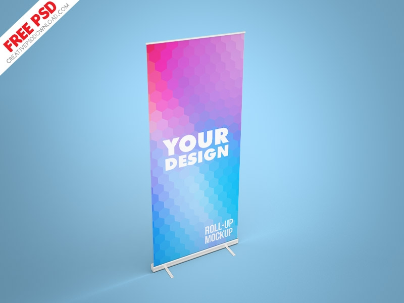 roll up mockup banner free psd creative psd download on dribbble