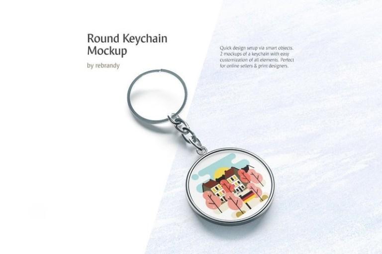 round keychain mockup keyring mock up souvenir template keyholder mock up