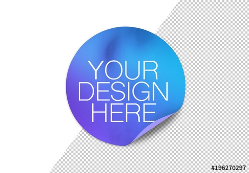 round sticker with rolled up corner and shadow mockup buy this