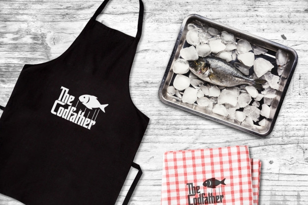 seafood restaurant apron mockup psd file premium download