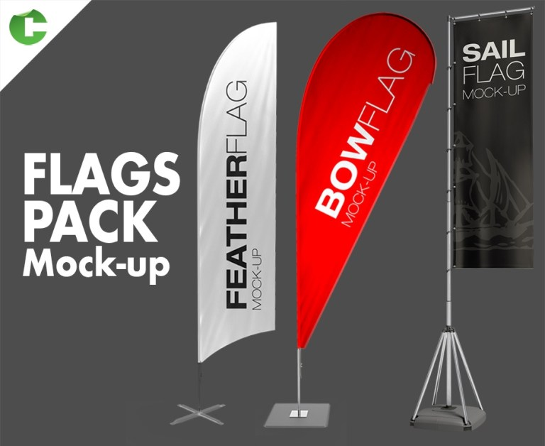 share your designs with this flag mockups collection 7 shape designs more