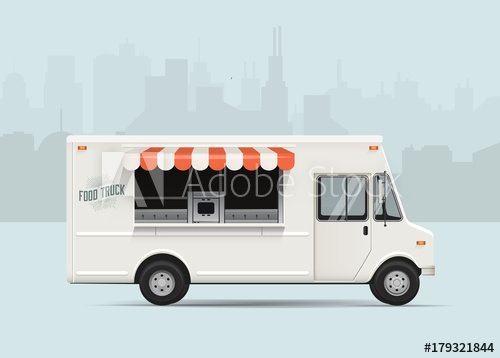 side view food truck with city landscape on the background high