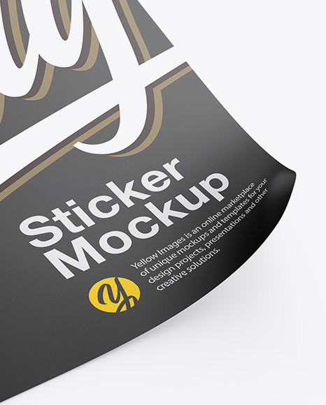 square sticker mockup in stationery mockups on yellow images object