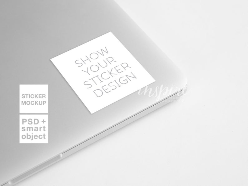 square sticker mockup laptop styled stock photography for etsy or social media psd smart object computer sticker mock up template