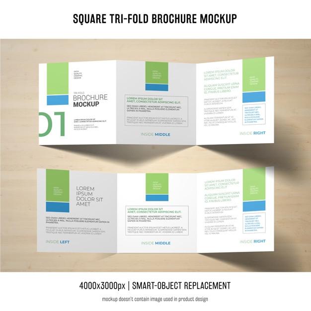 square tri fold brochure mockup psd file free download