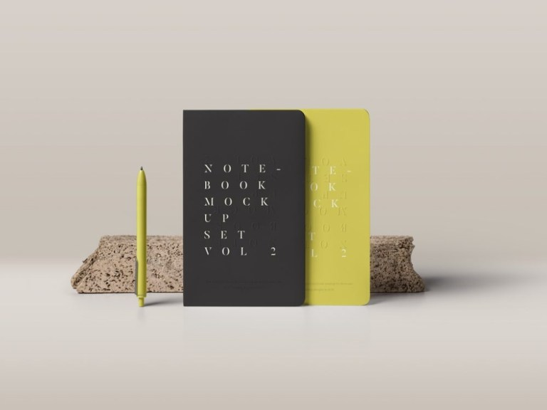 standing notebooks mockup mockupworld