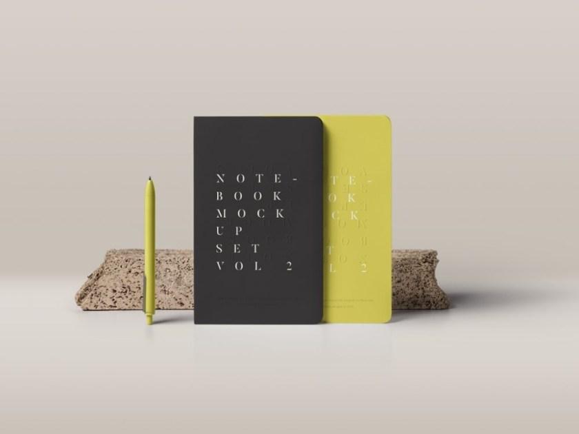 standing notebooks mockup mockupworld