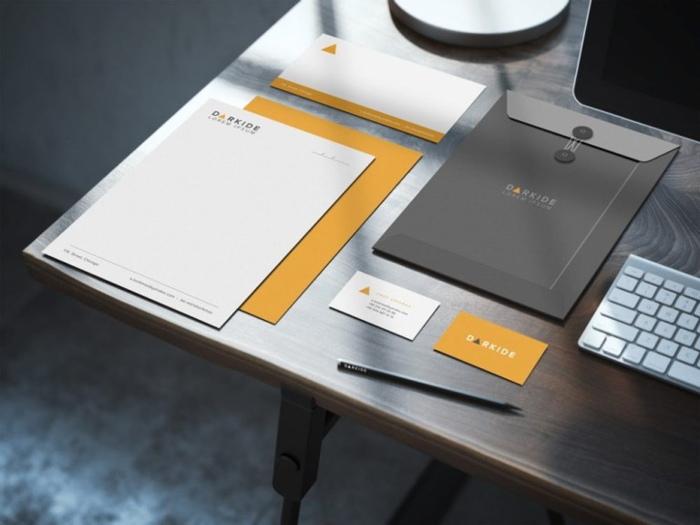 stationary on desk mockup mockupworld