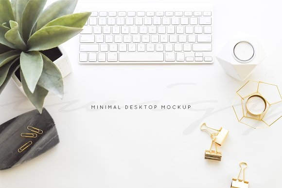 stock photo minimal desk mockup