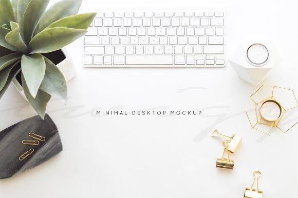 stock photo minimal desk mockup