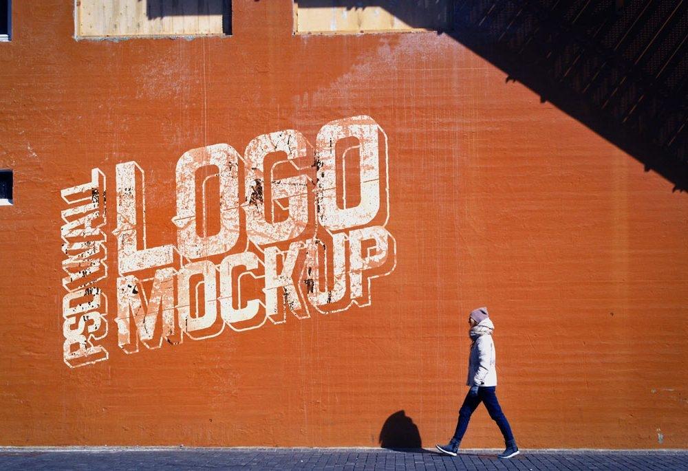 street wall logo mockup mockupworld