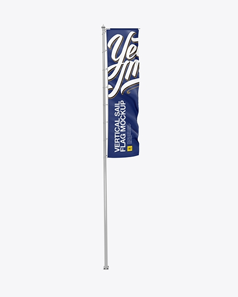 vertical sail flag mockup in outdoor advertising mockups on