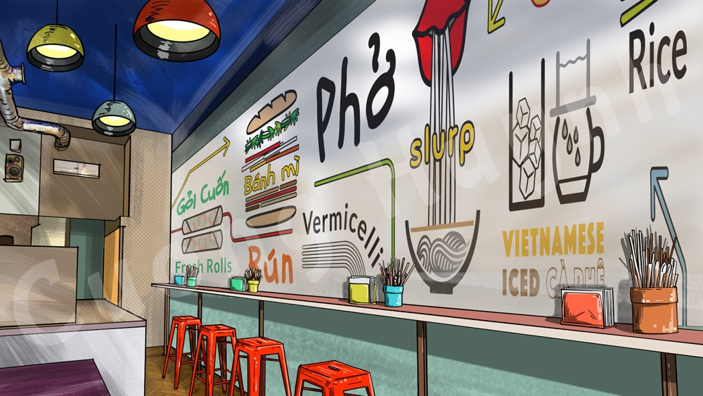 wall mural popular vietnamese food storyboard artist