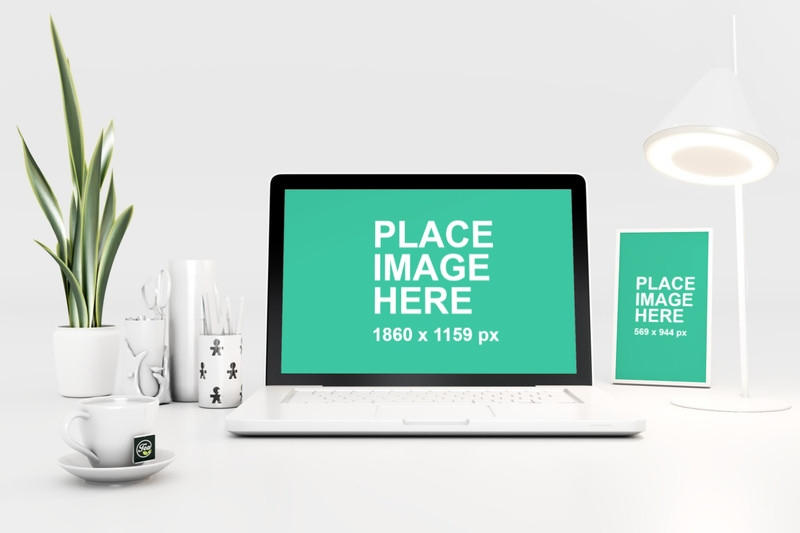 wooden desk mockup templates and photos