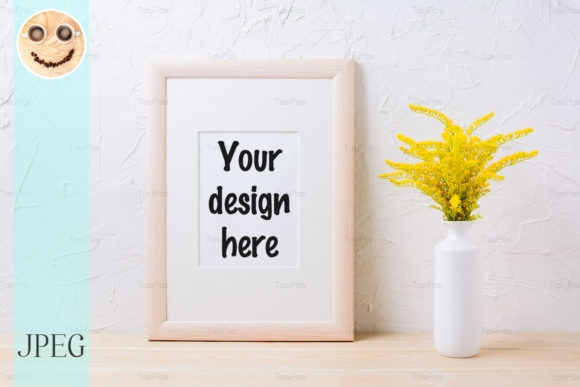 wooden frame mockup with yellow grass