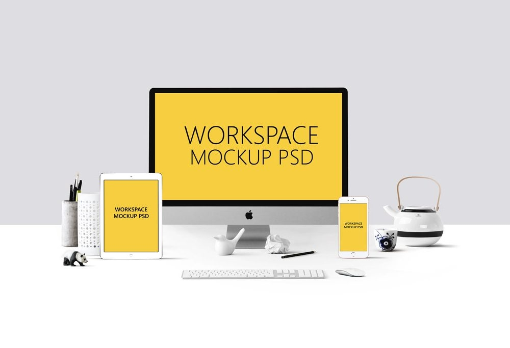 workspace with devices mockup mockupworld