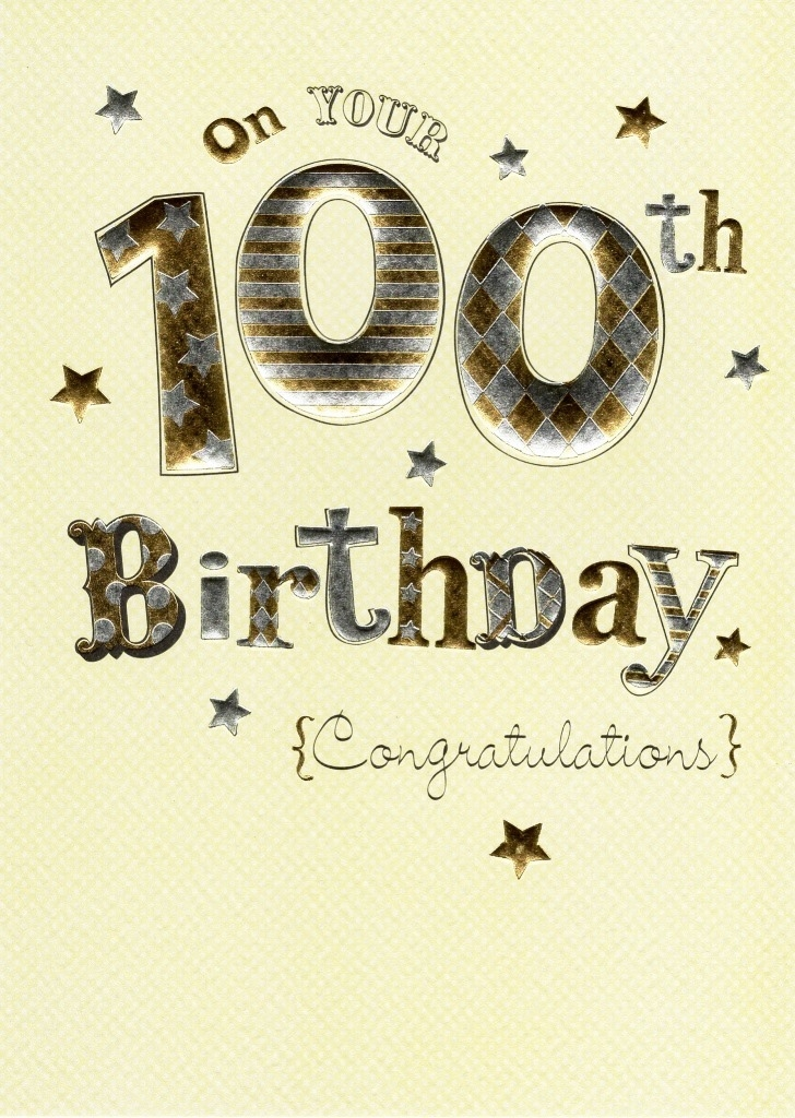 happy 100th birthday foiled greeting card