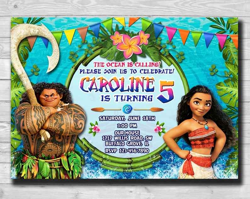 20 Moana Birthday Card Design Templates Candacefaber