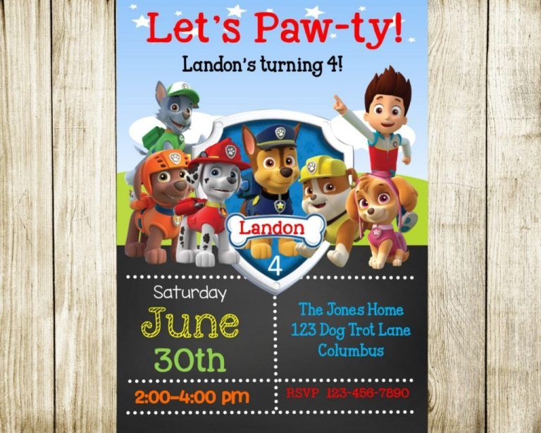 051 paw patrol birthday invitations free beautiful