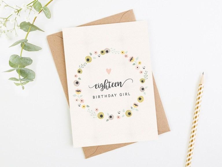 18th birthday card blush floral