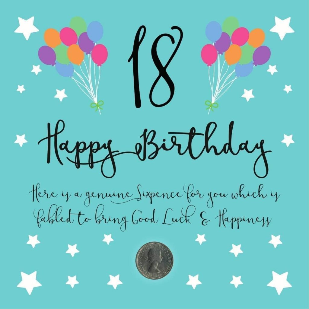 18th birthday lucky sixpence birthday card envelope