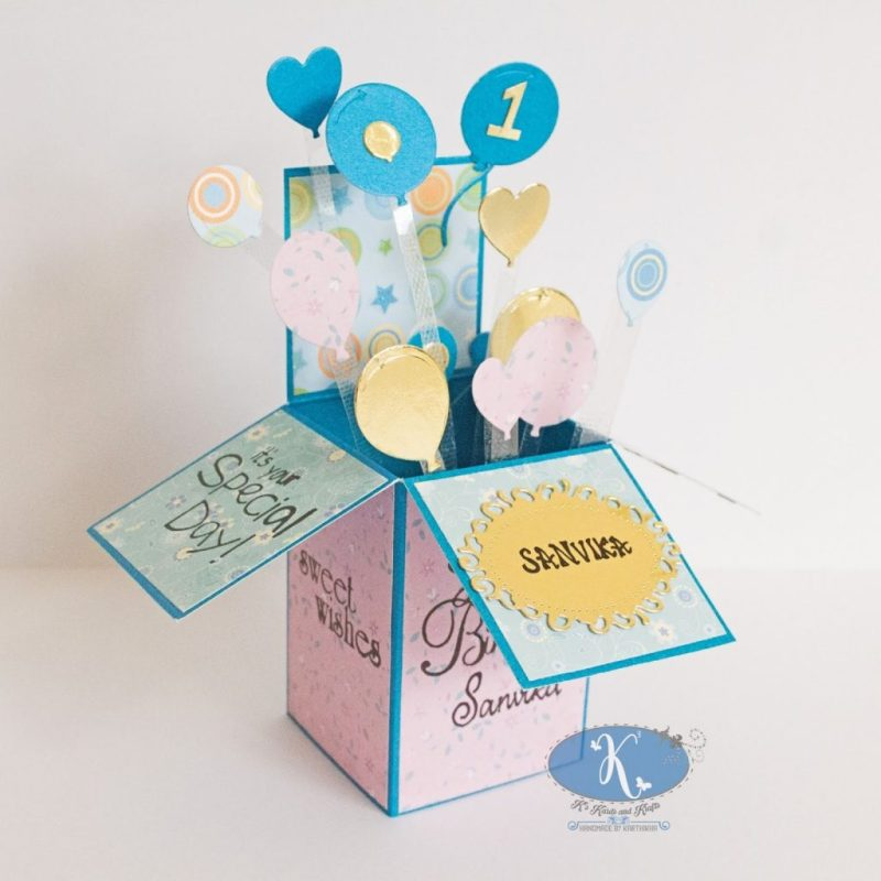 1st birthday card in a box