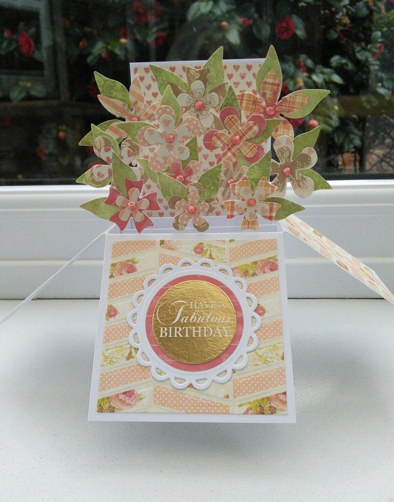 3d pop up flower box birthday card fabulous birthday folds flat for posting