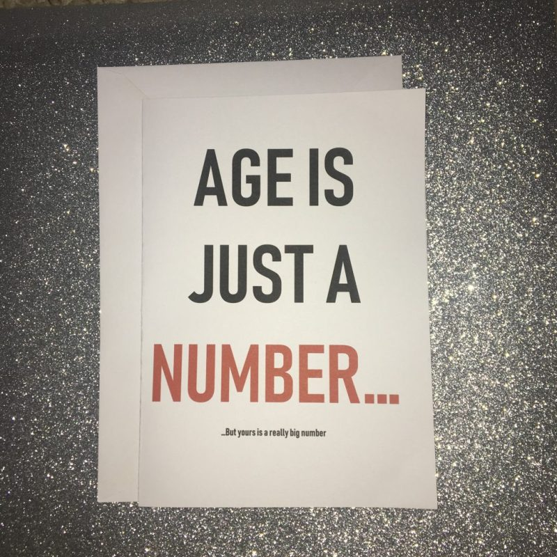 age is just a number blunt birthday card