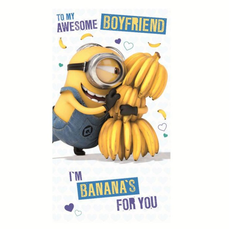 awesome boyfriend minions birthday card