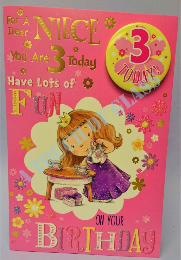 badge birthday card 3 year old niece