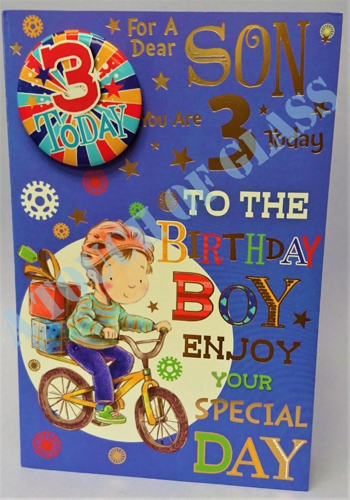 badge birthday card 3 year old son